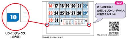 壁掛けカレンダーのUDインデックスの説明